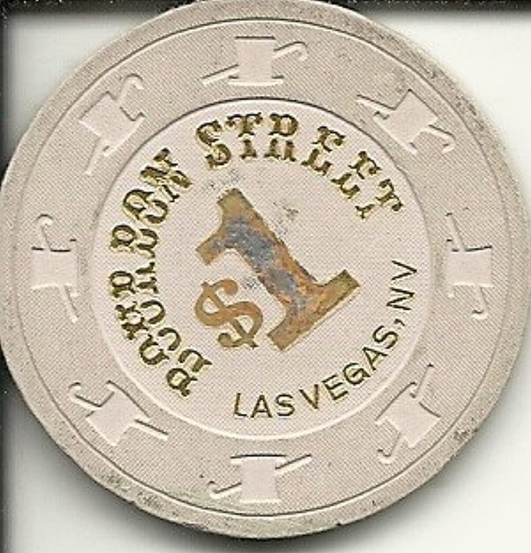 $ 1 Bourbon Streetホワイトラスベガスカジノチップヴィンテージ