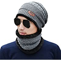 Unisex Winter Slouchy Beanie Hat Scarf Set Knitted Neck Warmers Gaiters Skull Caps