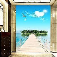 Xbwy カスタム3D写真の壁紙海の景色島の壁の壁画絵画エントランスの背景壁のリビングルームの壁紙風景のための壁-250X175Cm