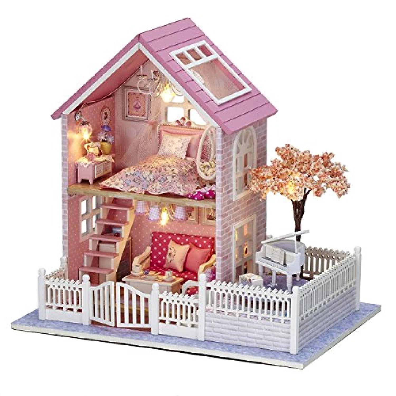 DIY木製おもちゃハウス、手作りミニキットセット、ミニ家具工芸品キット?音楽ボックス?付属LEDライト