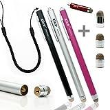 Ciscle 金属繊維タイプ ペン先交換式 スタイラスペン iPhone iPad スマートフォン対応 静電容量式 タッチパネル用タッチペン スタンドに最適 (ブラック+シルバー+ピンク)