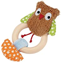 Kathe Kruse - Alba the Owl Plush Rattle with Wooden Teething Ring by K?the Kruse
