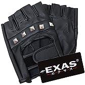(エクサス)EXAS ピラミッドスタッズ合皮指なし手袋 ブラック