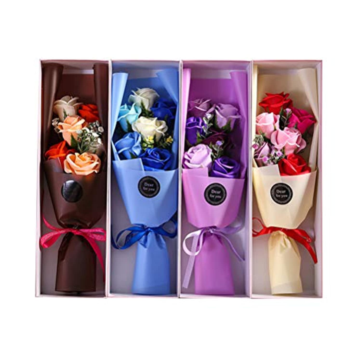 フラグラント彫刻ビデオBESTOYARD 6PCS石鹸の花びら人工石鹸の花のバラのギフトボックスカップルバレンタインデーのプレゼント(ランダムカラー)