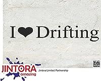 JINTORA ステッカー/カーステッカー - Love to drift - ドリフトすることを愛する - 210x37 mm - JDM/Die cut - 車/ウィンドウ/ラップトップ/ウィンドウ - 黒