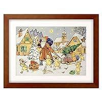 作者不明 Anonymous 「Darstellung aus einem alten Adventskalender um 1920: Der hl.Nikolaus」 額装アート作品