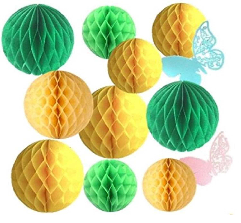【morningplace】 ハニカムボール 10個セット 爽やか 飾りつけ イベント 装飾 ウェディング 誕生日 に (グリーンベース)
