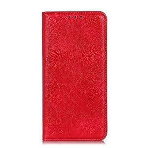 OPPO Reno 10x Zoom ケース [KAIDON] [25#] 良質PUレザー マグネット開閉 カード収納 手帳型ケース カバー (赤)