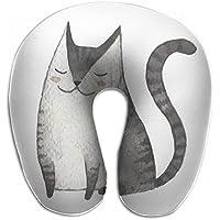 Merlin Quintina 猫 絵 抱き枕 U字型クッション 首枕 ネッククッション 旅行ピロー360度快適な睡眠 子宮頸椎 保護 ポータブル