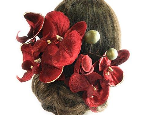 大人の赤胡蝶蘭花かんざし*着物浴衣髪飾りヘア飾り*結婚式成人...