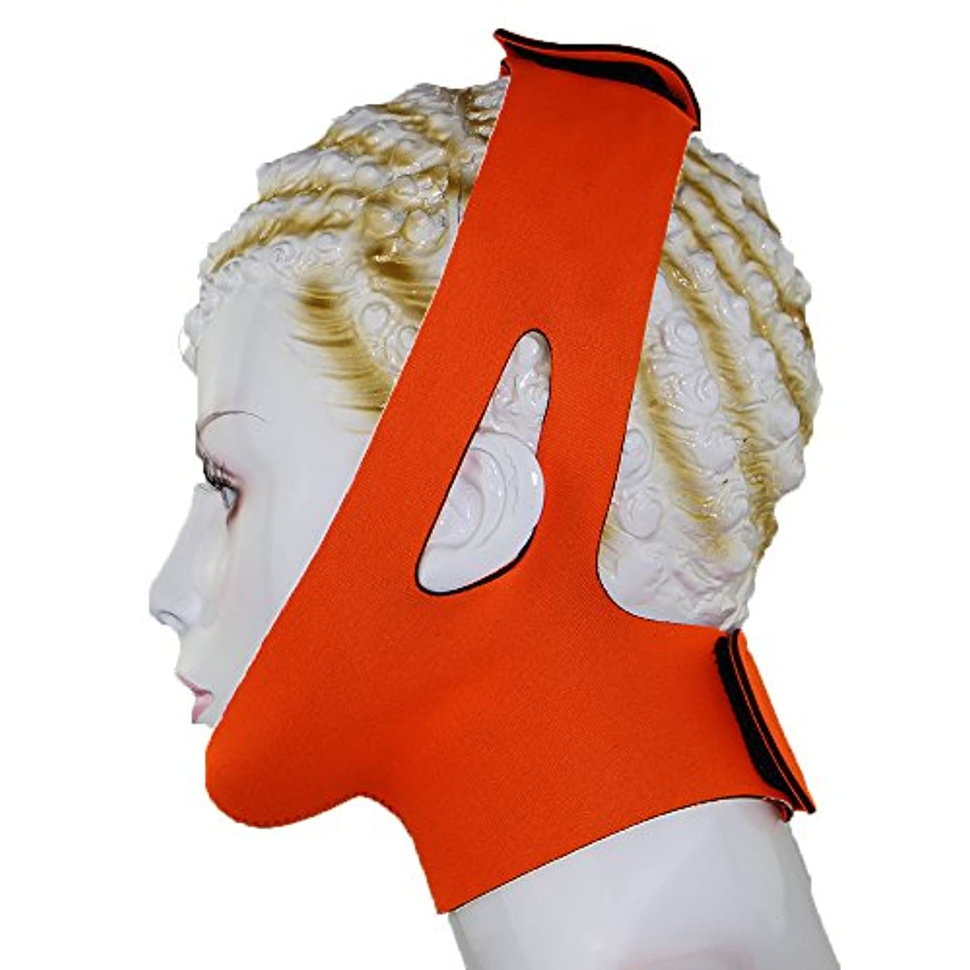 法律によりステレオタイプ甘やかす小顔 美容 顎サポーター ほうれい線 豊齢線 解消 マッサージグッズ フェイスマスク 二重あご 加圧 ベルト レディース (オレンジ)