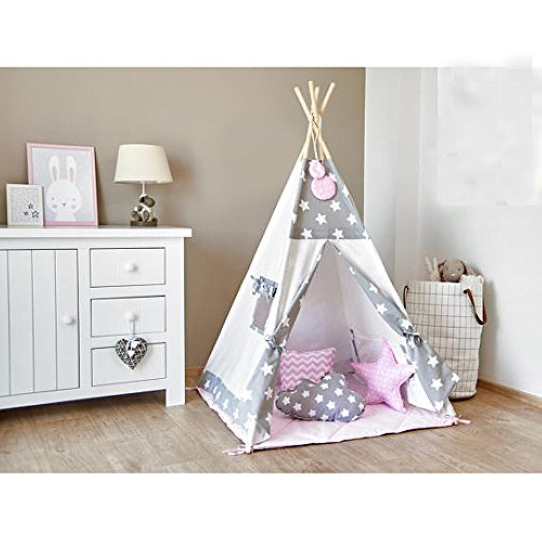 グレースターとピンクデザイン子供のテント赤ちゃんのおもちゃハウス子供プレイテント綿テントベビードールハウステント小屋ハウス (座布団を持って)