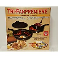 Tri-Pan Premier, 3 Pans in 1, Multi Tasking in 1 Pan! Non-Stick Coating, Includes: 12 - 3 Section Pan, 10 - 2 Section Pan w/Grilling Side, Splatter Lid, Stainless Steel Vegetable Slicer, Recipe Book by Tri-Pan Premier, 3 Pans in 1