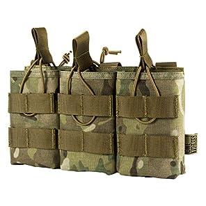 OneTigris トリプルマガジンポーチ 3連オープン M4/M16 AK AR  モール対応 チェストリグ取り付け可能 サバゲー (マルチカム迷彩(CP))