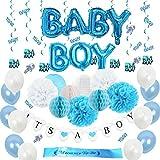 ブルーホワイトベビーシャワー 男の子 誕生日 100日 ブルー系 可愛い 飾り付け サッシュ ハニカムボール ガーランド 紙提灯 ペーパーフラワー 34個