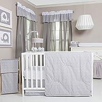 トレンドラボグレーとホワイト円ベビー寝具コレクション 3-pc. Crib Set グレー
