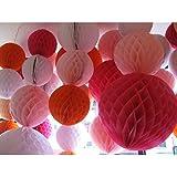 【ノーブランド品】 多色 3サイズ  ティッシュ ハニカムボール 提灯 ウェディング パーティーホーム デコレーション  - ピンク, 20cm