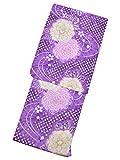 [ 京都きもの町 ] 変わり織り 女性浴衣単品 紫色 絞り風菊花 フリーサイズ