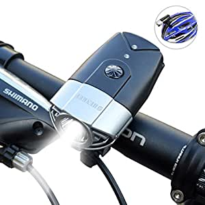 SHENKEY LED自転車ライト 2000mah 1200ルーメン USB充電 IP65防水 軽量 シルバー