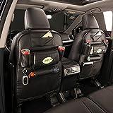 Unigear シートバックポケット 後部座席収納バッグ キックガード レザー製 取り付け簡単 多機能 ブラック 汎用