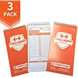 """Portage Fitness and Workout Notebook - 4"""" x 8"""" Sturdy Exercise Journal for Planning and Tracking Workouts to Achieve Your Fitness Goals - 140 Pages (3 Pack)"""