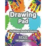 """Drawing Pad: 8.5"""" X 11"""", Personalized Drawing Sketchbook, 100 pages, Durable Soft Cover, Fingerpaint Kit-[Professional Bindin"""
