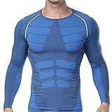 メディカルサポート 男性用機能性肌着 着圧スポーツインナー 加圧Tシャツ 姿勢矯正 猫背解消 基礎代謝を上げて脂肪燃焼 長袖 ブルー/イエロー XL