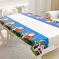 Aprettysunny Disposable Christmas Tablecloth Festive Rectangle Oblong Table Cloth Tableware.