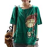 Vigor Girls レディース Tシャツ ゆったり 半袖 コットン 綿100% おおきいサイズ 体型カバ― ビッグシルエット 創意デザイン おもしろ シンプル カジュアル 快適 通勤 通学 家着用