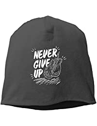 【Dera Princess】メンズ レディース ニット帽 Never Give Up2ロゴ コットン ニットキャップ 帽子 オールシーズン 被れる