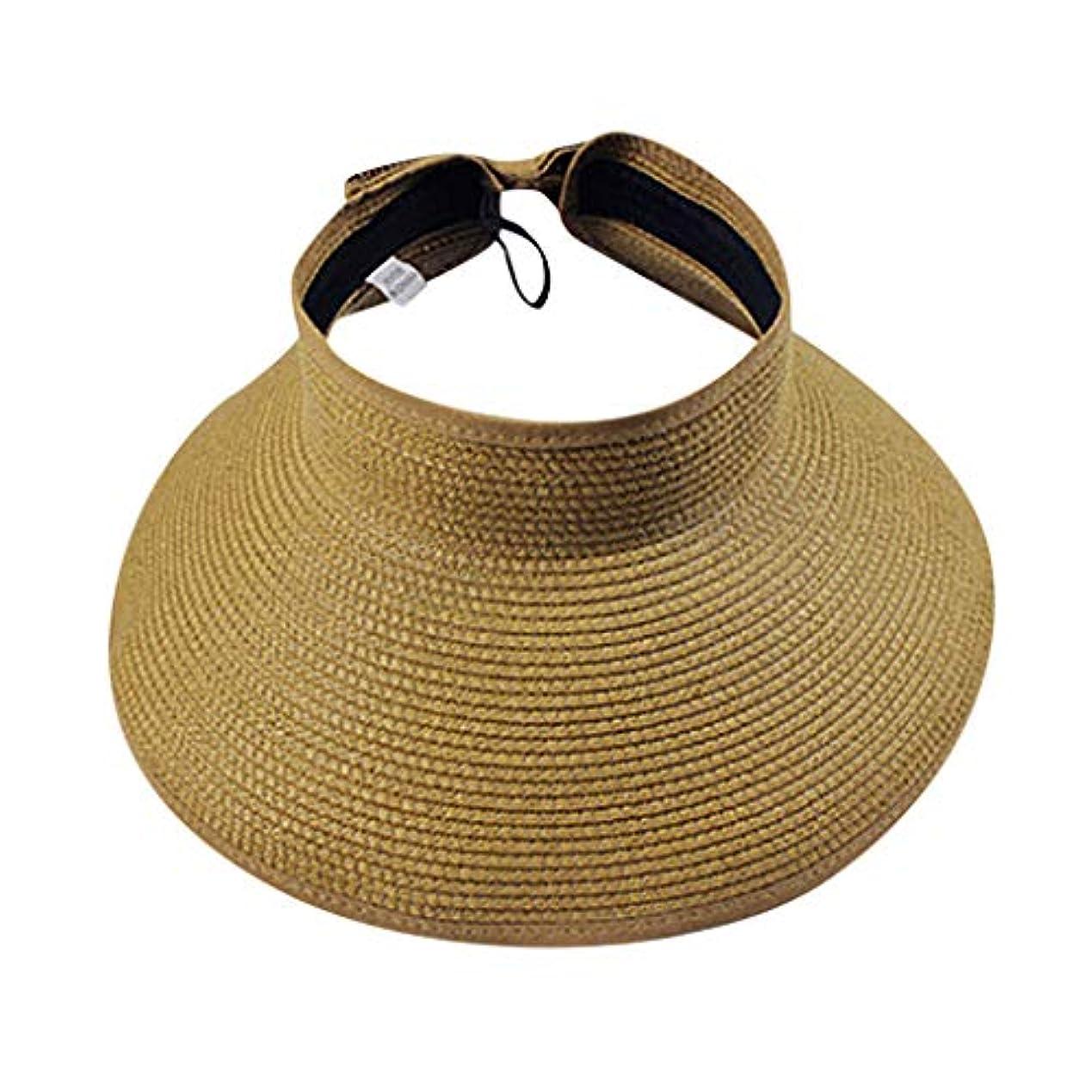 ハング正気日付Cuekondy レディース メンズ 2019 サマービーチ パッカブル 幅広つば サンバイザー 麦わら帽子 かわいい蝶ネクタイキャップ 58cm