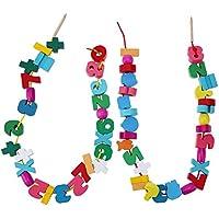 木製 知育玩具 赤ちゃん おもちゃ 紐通し ボビンひもとおし 木のおもちゃ 知育玩具セット 動物/果物など Broadroot (C)