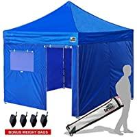 New Eurmax Basic 10x10 Ez Pop Up Canopy Outdoor Canopy Instant Tent with 4 zipper Sidewalls and Roller BagBouns 4 weight bags (Blue) [並行輸入品]