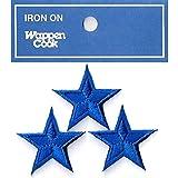 刺繍ワッペン アイロンパッチ ミニ星スター 3個セット NO-5530 (ブルー)
