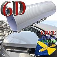 6dホワイト光沢Shinnyカーボンファイバービニール車デカールラップシートwithエアリリース( 3ft X 5Ft )