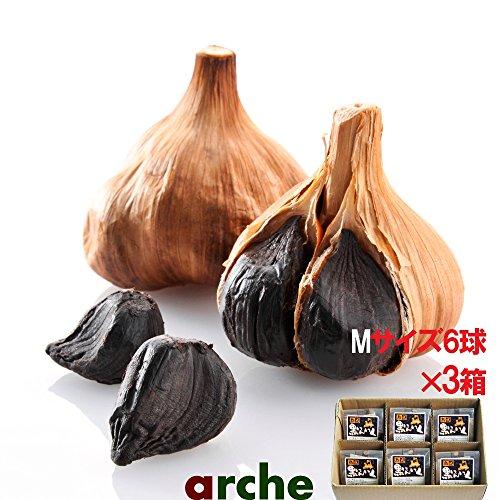 青森県産 ニンニク 熟成 黒にんにく Mサイズ個包装 6球箱入り×3箱セット(計18球)
