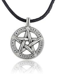 Supernatural Pentacle Pentagramペンダントメンズネックレス魔女保護Starアミュレットネックレスレザーロープチェーン