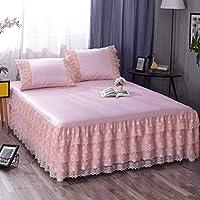 QXJR ベッドスカート,ストレッチ ベッドスカート,いベッドスカート シングル,敷き布団 ラップアラウンドスタイル 単色 寝具 装着が簡単 ベッド用品-味噌-1.5*2.0メートル