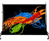 Lyly郡( 10× 7ftダイナミックカラフルペイントスプラッシュ画像のバックドロップブラック写真背景Studio Props 107–311