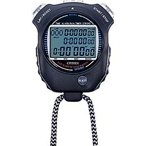 シチズン 防滴 (JIS防滴II型) デジタル ストップウォッチ 058 スプリットタイム/ペースカウント機能/ストローク測定機能付き 黒 CITIZEN LC058-A02