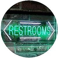 Unisex Restroom Arrow Toilet Washroom Dual Color LED看板 ネオンプレート サイン 標識 白色 + 緑色 400 x 300mm st6s43-i2157-wg