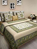 100% Cotton Olive & Musted Colour Rajasthani floral print King Size Double Bed Sheet With 2 Pillow C