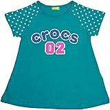 ガールズキッズトップス半袖[Crocs(クロックス)]女の子ドット柄Tシャツ 綿100% 100cm グリーン