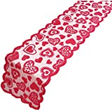 ibohr Valentine Table Runner with Love-Heart Pattern Lace Festival Table Runner Valentine Table Decoration for Dating & Weddi