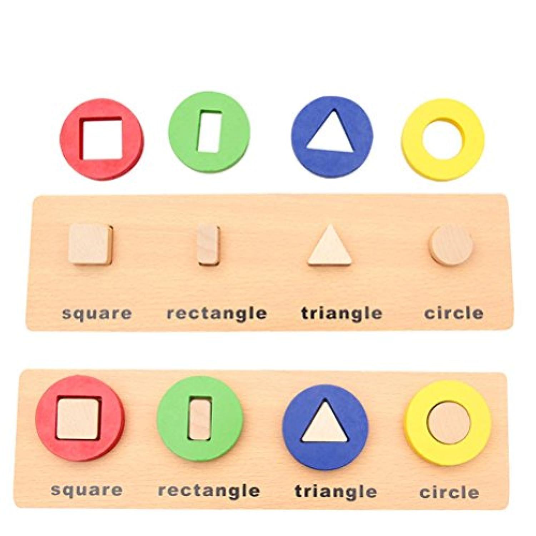sunone11教育木製幾何スタックソーターボードの形状と色認識のおもちゃ幼児パズルギフト(正方形、長方形、三角形、円)
