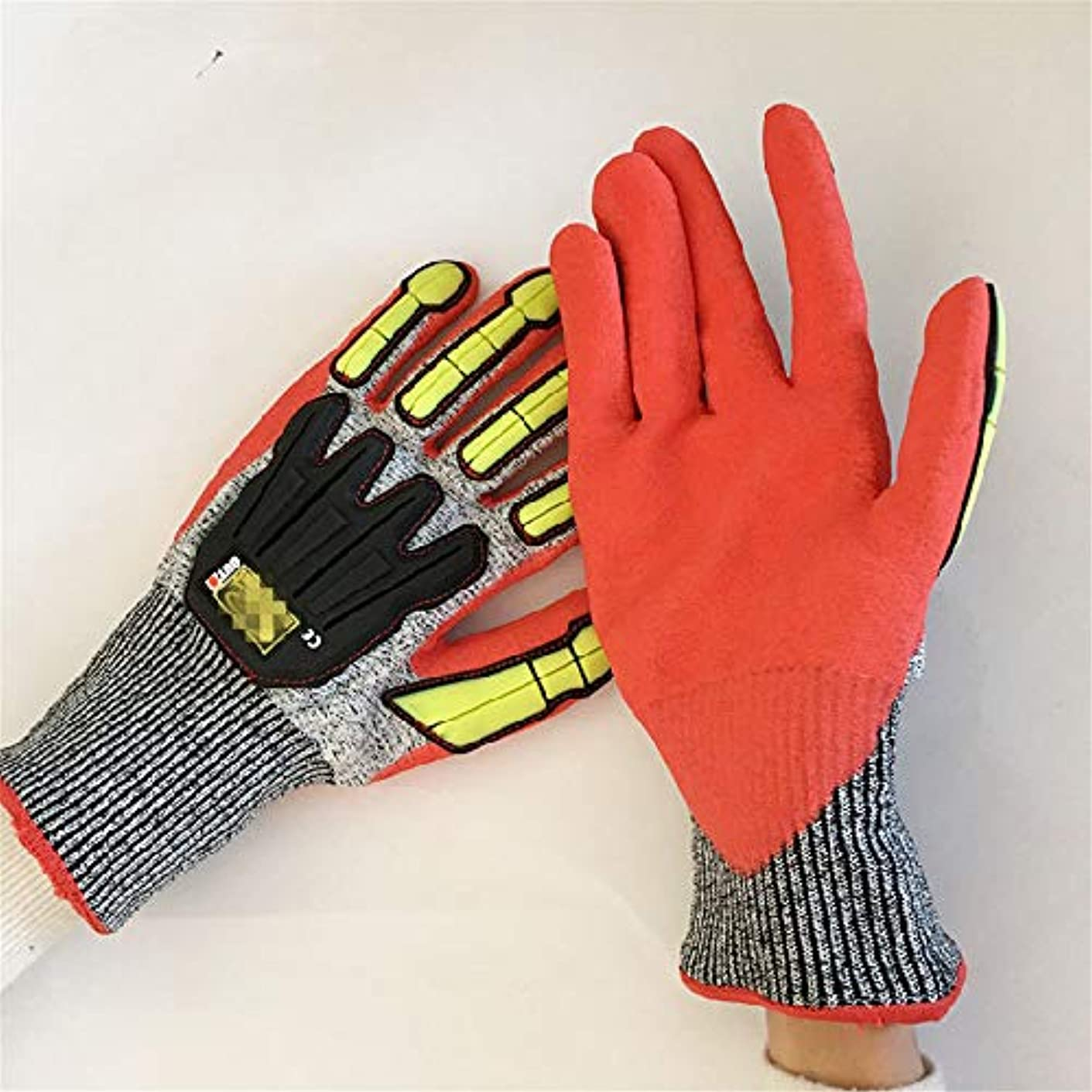 害虫ちょうつがい否定する快適 TPRアンチコリジョングローブ5グレードアンチカットディープ石油手袋 (色 : 赤)