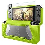 AISITIN ニンテンドースイッチ ケース 耐衝撃 任天堂 switch カバー 2重保護 ケース, Nintendo Switch 強化ガラス液晶保護フィルム 人間工学/衝撃吸収/指紋防止/硬度9H ( 緑 + 親指キャップ*2)