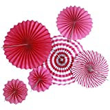 装飾用紙ファン、winnereco 6個/セットペーパーファンベビー誕生日祭ウェディングパーティー装飾ローズレッド