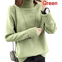 Warm Turtleneck Sweater Women Jumper Women Sweaters Pullovers Knitted Sweater FT Green