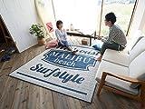 西海岸 男前 夏 サーフ 洗濯機 洗える ヴィンテージ風 インテリア おしゃれ ラグ マット カーペット 絨毯 ラグマット 床暖房 ネイビー 130 x 185 cm 1.5畳